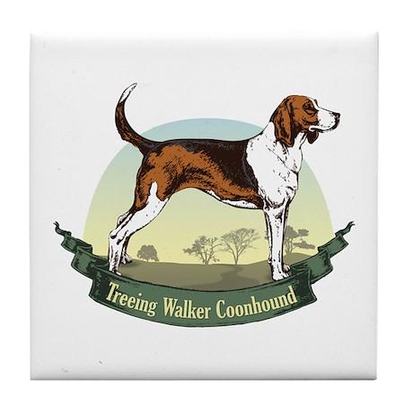 Treeing Walker Coonhound: Banner Series Tile Coast