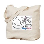 White ASL Kitty Tote Bag