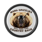 Mama Grizzlies Large Wall Clock