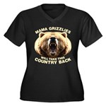 Mama Grizzlies Women's Plus Size V-Neck Dark T-Shi