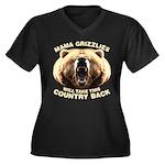 Mama Grizzlies Women's Plus Size V-Neck Dark T-Shi