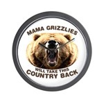 Mama Grizzlies Wall Clock
