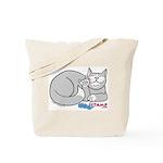 Gray/White ASL Kitty Tote Bag
