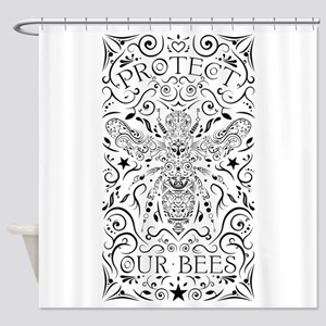 protect our bumblebees Shower Curtain