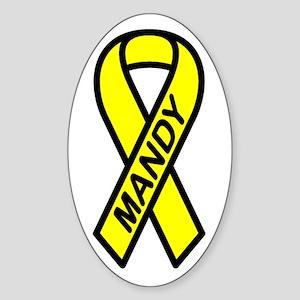 MANDY - Yellow Ribbon Oval Sticker