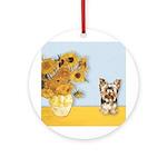 Sunflowers / Yorkie #17 Ornament (Round)
