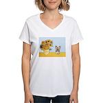 Sunflowers / Yorkie #17 Women's V-Neck T-Shirt