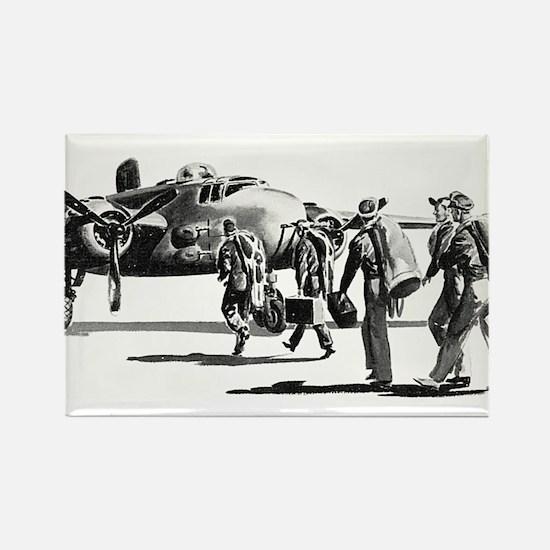 B-25 Crew Walking to Bomber Rectangle Magnet