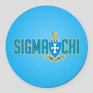 Sigma Chi Crest Round Car Magnet