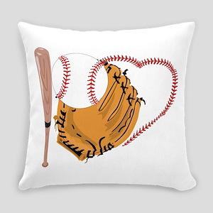 I Love Baseball, Bat & Mitt Everyday Pillow