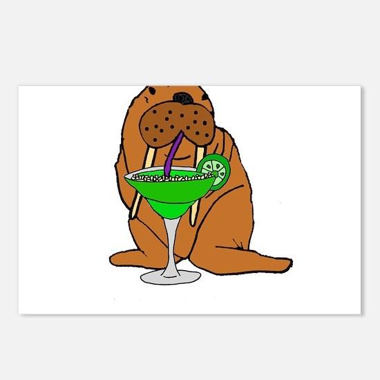 Walrus Drinking Margarita Postcards (Package of 8)