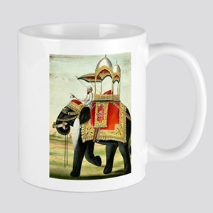 Vintage Decorated Elephant With Howdah Painti Mugs