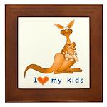 I Love Kids (Kangaroo)  Framed Tile