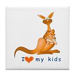I Love Kids (Kangaroo)  Tile Coaster