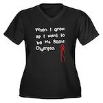 Ms Bikini Olympia Women's Plus Size V-Neck Dark T-