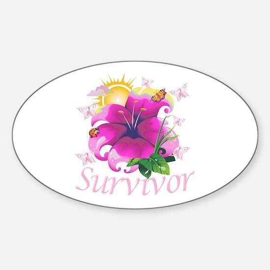 Survivor Flower Sticker (Oval)