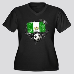 Soccer Fan Nigeria Women's Plus Size V-Neck Dark T
