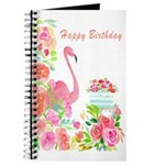 Happy Birthday Watercolor Flamingo And Cake Journa