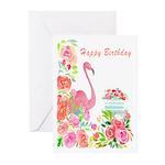 Happy Birthday Watercolor Flamingo And Cake Greeti