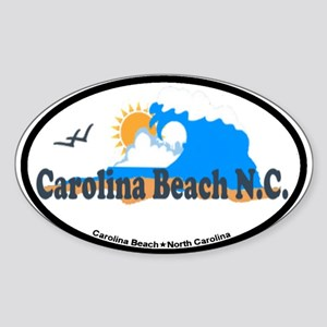 Carolina Beach NC - Waves Design Sticker (Oval)