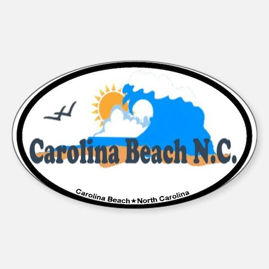 Carolina Beach NC - Waves Design Sticker (Oval)