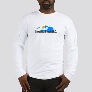 Carolina Beach NC - Waves Design Long Sleeve T-Shi