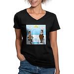 When Stupid People Go Women's V-Neck Dark T-Shirt