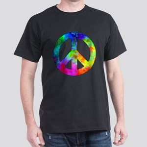 Retro tie-dyed peace sign Dark T-Shirt