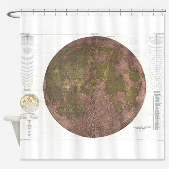 Vintage Map of The Moon (1961) 2 Shower Curtain