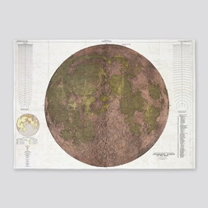Vintage Map of The Moon (1961) 2 5'x7'Area Rug
