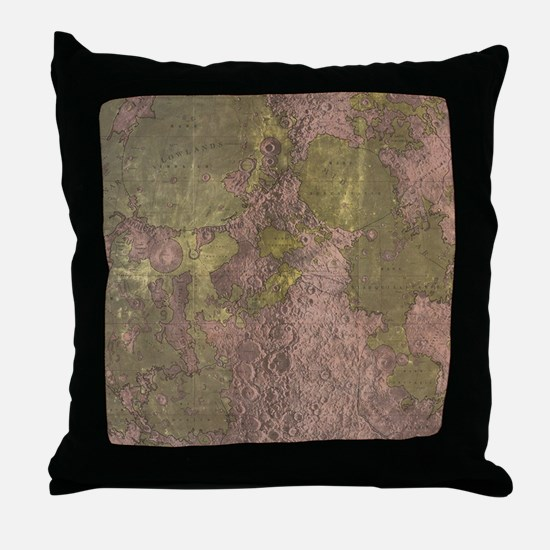 Vintage Map of The Moon (1961) 2 Throw Pillow