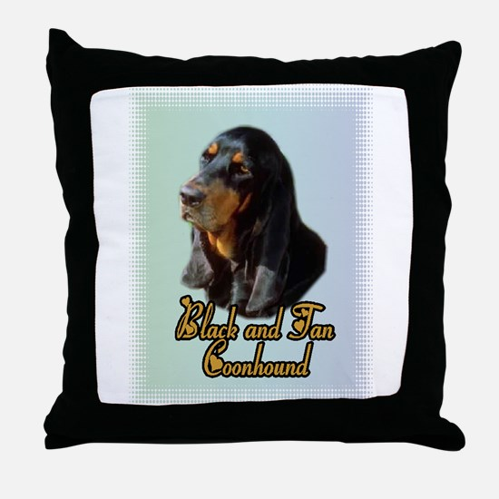 Black and Tan Coonhound Throw Pillow