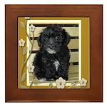 Black Yorkiepoo Puppy Framed Tile