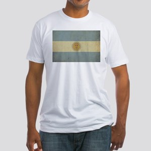 Vintage Argentina Flag Fitted T-Shirt