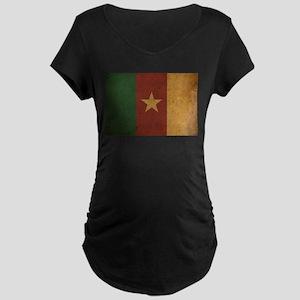 Vintage Cameroon Flag Maternity Dark T-Shirt