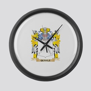 Quayle Family Crest - Coat of Arm Large Wall Clock