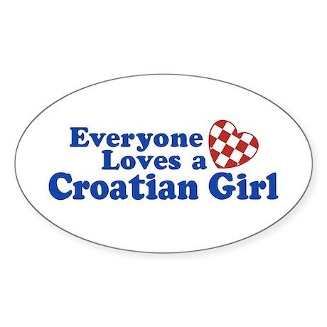 Croatian Girl Sticker (Oval)