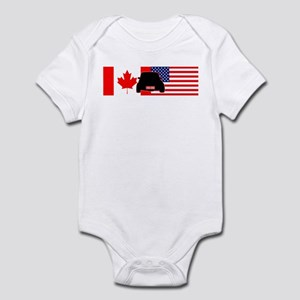 Canadian-US Mini flag Infant Bodysuit