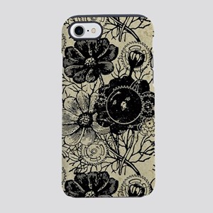 Flowers And Gears Black iPhone 7 Tough Case