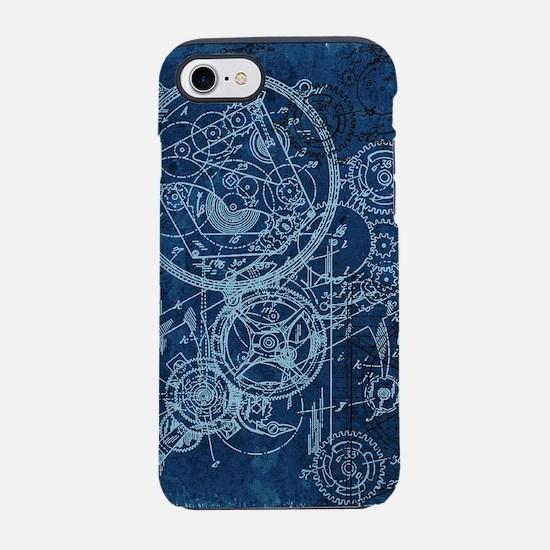 Clockwork Collage Blue iPhone 7 Tough Case