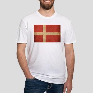 Vintage Denmark Flag Fitted T-Shirt