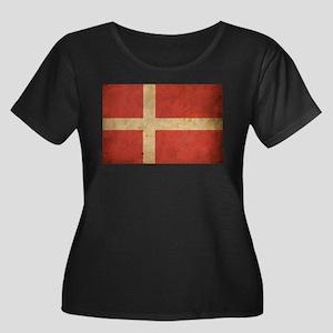 Vintage Denmark Flag Women's Plus Size Scoop Neck