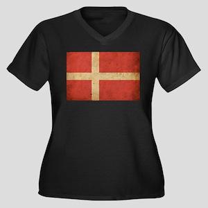 Vintage Denmark Flag Women's Plus Size V-Neck Dark