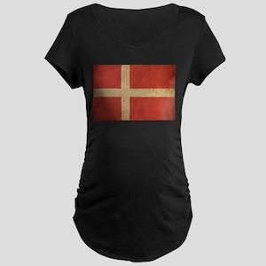Vintage Denmark Flag Maternity Dark T-Shirt