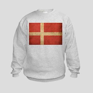 Vintage Denmark Flag Kids Sweatshirt