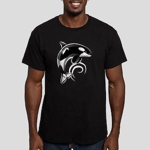 Dolphin Dark White Waves Men's Fitted T-Shirt (dar