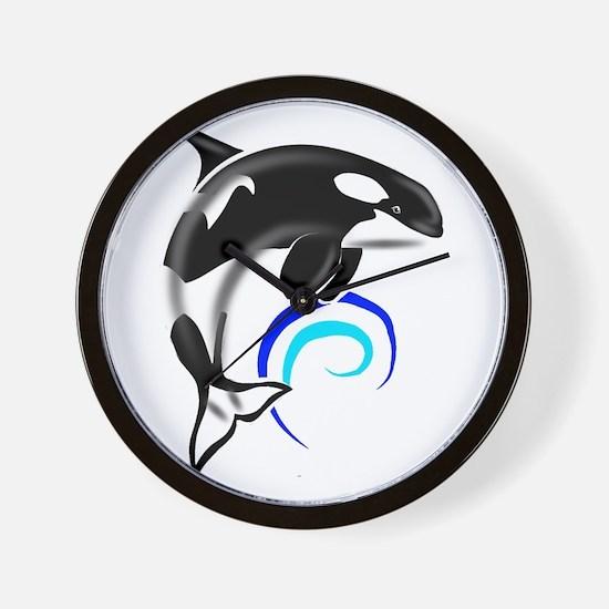 Orca Whale Dark Blue Waves Wall Clock