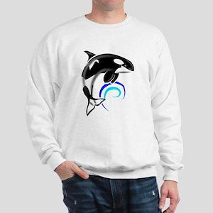 Orca Whale Dark Blue Waves Sweatshirt