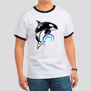 Orca Whale Dark Blue Waves Ringer T