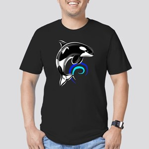 Orca Whale Dark Blue Waves Men's Fitted T-Shirt (d